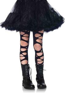 Leg Avenue 4912 kids Girls Black TATTERED tights dance Halloween costume Lg 8 10