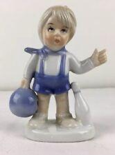"Vintage 4"" Blonde Boy Child w Bowling Ball & Pin Porcelain Figurine Blue White"
