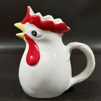 """Vintage Rooster Pitcher, Hand Painted ITALY, White & Red, 6.25"""" H, VGUC"""