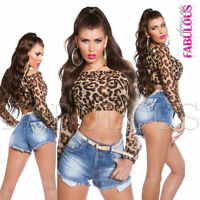 Sexy Hot Women's Long Sleeve Crop Top Clubbing Party Casual Size 6 8 10 XS S M