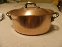 Vintage copper 8 inch stew pot marked Mauviel Villedieu, Made In France