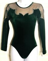 GK LgSLV ADULT SMALL EVERGREEN VELVET JA MESH GYMNASTICS DANCE LEOTARD AS NWT!