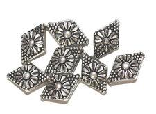 22mm Flower Diamond Antiqued Silvertone Metalized Metallic Beads