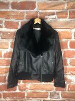 $1k+ Red VALENTINO IT 46 M/L Rabbit Fur Leather Luxury Biker Motorcycle Jacket