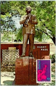 1969 MEMPHIS, Tennessee Postcard HANDY PARK Statue View w/ 1st Day Stamp Cancel