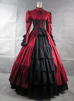 Gothic Steampunk Lolita Victorian Evening Party Red Dress Costume Halloween
