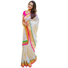 Super Sale Bollywood Style White and pink color sari with Cotton Silk Fabric