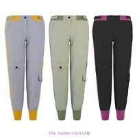 NEW LADIES WOMENS TRACK RUNNING JOG PLAIN PANTS CARGO BOYFRIEND TROUSERS 10-14