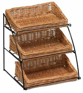 Countertop Display Stand with Wicker Baskets