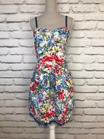 JOE BROWNS Blue Red Floral Print Vintage Look Sleeveless Flare Summer Dress 14