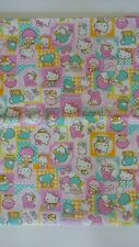 Sanrio Characters Pastel 100% Cotton Fabric (Oxford) FQ Fat Quarter Ship fr CA