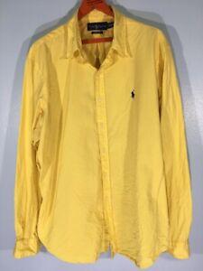 Ralph Lauren Casual Plain Yellow Formal Button Down Shirt Long sleeve XXL 2XL