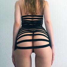 Sexy Netzkleid raffinierter Rücken & Slip , Dessous Kleid transparent schwarz