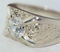 Modernist Men's 2 CT Solitaire CZ Solid 925 Silver Handmade Ring Band All Sizes