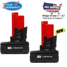 2X 12V For Milwaukee 48-11-2460 M12 RED LITHIUM XC 4.0 Extended Capacity Battery