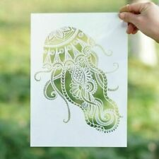 Jellyfish Stencil Template for Painting A4 Mandala Stencils for Wall Reusable