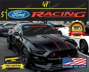 2015-19 Ford Mustang Front Windshield ford racing vinyl decals