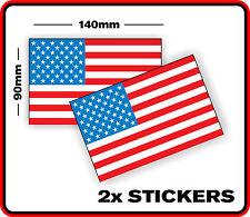 AMERICAN COUNTRY USA DECAL FLAG STICKER x2 BUMPER CAR WINDOW VINYL SCRAPBOOK
