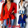 Women's Sexy Deep V Lace Up Bow Shirt Ladies Plain Long Sleeve Tunic Tops Blouse