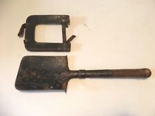 WWII GERMAN TRENCH SHOVEL & LEATHER CASE FIELD GEAR GERMAN MARKED RARE