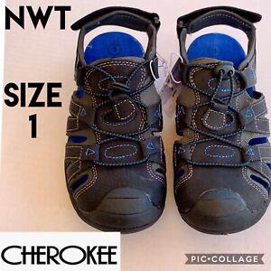 Cherokee Boys Sandals GALEN Black Blue Fishermen Sport Outdoor Shoes US1 NEW