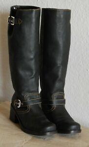 Stiefel Biker Look,umbra,Gr.40,getragen Gothic GoGo WGT Steppnähte