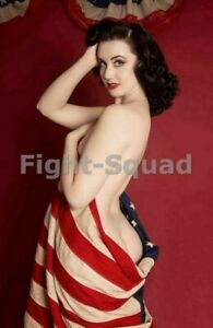 WW2 Picture Photo Pin Up with American Flag 2120