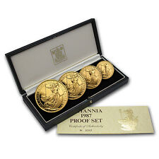 1987 4-Coin Gold Britannia Proof Set (w/Box & COA) - SKU #41774