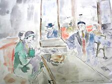 """BERTHOMME ST-ANDRE (1905-1977) """"Au café de Pigalle à Paris"""" Aquarelle ancienne"""