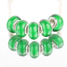 Bling green 5pcs SILVER MURANO bead LAMPWORK fit European Charm Bracelet