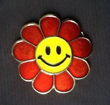YELLOW SMILEY HAPPY FACE SUN FLOWER EMOGY BEACH PARTY FANCY DRESS BELT BUCKLE