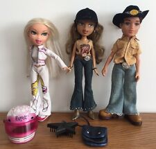 Bratz Dolls Bundle - Horse Rider Girl & Boy Plus Track Racer Doll & Shoes