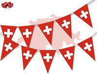Switzerland Full Flag Patriotic Themed Bunting Banner 15 Triangle flags National