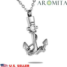 Pirate Anchor Cubic Memorial Cremation Jewelry Urn Keepsake Ashes Necklace -wew