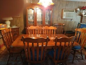 dining room table with hutch and chairs
