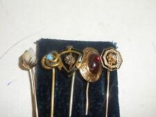 5 ANTIQUE VICTORIAN 14K GOLD STICK PIN STONES DIAMOND