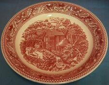 Vintage Red Toile Pie Plate Serving Dish Shallow Bowl Country Scene Transferware
