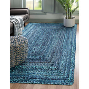 Rug Braided Area Natural Blue Cotton Base Mat Reversible Various Size Floor Rugs