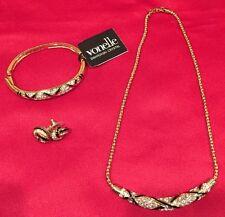 Swarovski Vonelle Necklace + Bracelet + Earrings Set, Gold Time, New