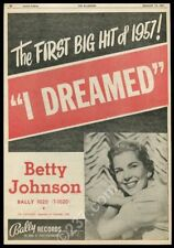 1957 Betty Johnson photo I Dreamed song release Bally Records trade print ad