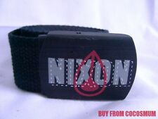 "New NIXON Thin Black Cotton Belt Adjustable Up to 40"" FREE SHIPPING Logo Buckle"
