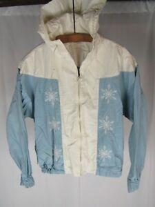 Vtg 1950s White Stag Snowflake Motif Cotton Jacket Anorak Hollywood 50s Full Zip