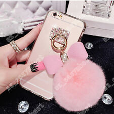 Hot Bling Diamond Bow Furry Plush Ball Soft Clear Case Cover for iPhone Samsung