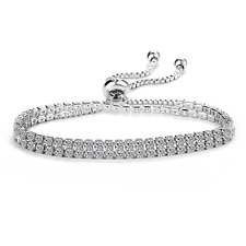 Silver Double Wrap Solitaire Friendship Bracelet With Crystals From Swarovski