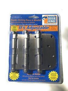 "4"" Satin Nickel 5/8"" Radius Adjustable Door Hinges (3-Pack)"