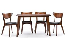 Baxton Studio Sumner Mid-Century Style 5 Piece Dining Set in Walnut Brown, New
