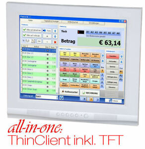 """17 """" 43CM TFT with Integrated 1000MHz Thinclient Mini PC Silent 12V Pwrsupply"""