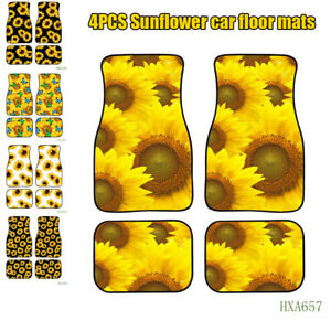 4PCS Full Floor Mats Universal Printed Sunflower Mat Fit for Car SUV Interior