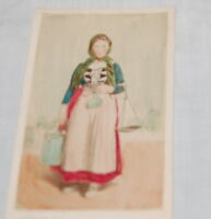 Antique Portrait Art Card Tinted Photograph French Peasant Country France 1890s