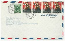 Germany Scott #694 Strip of 4 & #695 on Cover April 9, 1953 Air Mail